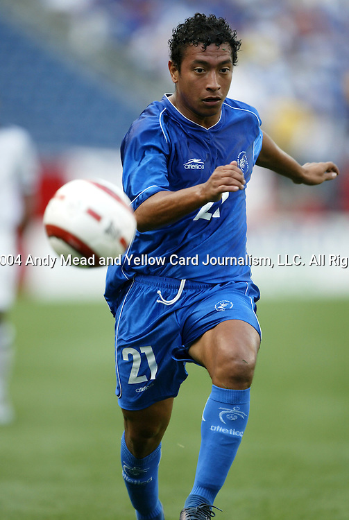 04 SEP 2004: Josue Galdamez chases after the ball in the first half. The United States defeated El Salvador 2-0 at Gillette Stadium in Foxboro, MA in a CONCACAF semifinal round World Cup Qualifying game..