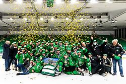 Team HK SZ Olimpija celebrate after 3rd leg of ic hockey game between HK SZ Olimpija Ljubljana and Asiago Hockey in Final of Alps Hockey League 2020/21, on April 24, 2021 in Hala Tivoli, Ljubljana, Slovenia. Photo by Matic Klansek Velej / Sportida