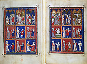 On Surgery'  by Roger of Salerno (12th century). The top images show scenes of Christ's passion from his appearance before Pilate through to his Crucifixion. The images below are of medical examination and treatment. Salerno, near Naples, Italy, was the great medieval centre of medical learning. 14th century manuscript. British Museum,   London.