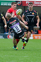 Rugby Union - 2016 / 2017 Aviva Premiership - Semi-Final: Exeter Chiefs vs. Saracens<br /> <br /> Owen Farrell, capt, of Saracens collides with  James Short Exeter Chiefs, at Sandy Park.<br /> <br /> COLORSPORT/WINSTON BYNORTH