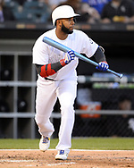 CHICAGO - AUGUST 24:  Elvis Andrus #1 of the Texas Rangers bats against the Chicago White Sox during Players Weekend on August 24, 2019 at Guaranteed Rate Field in Chicago, Illinois.  (Photo by Ron Vesely)  Subject:   Elvis Andrus