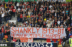 BOLTON, ENGLAND - SATURDAY, SEPTEMBER 30th , 2006: Liverpool's fans with a banner in memory of the late Bill Shankly, who died 25 year's ago on 29th September 1981, during the Premiership match against Bolton Wanderers at the Reebok Stadium. (Pic by David Rawcliffe/Propaganda)