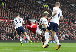 Manchester United's Romelu Lukaku has a shot blocked by Tottenham Hotspur's Jan Vertonghen during the Premier League match at Old Trafford, Manchester.