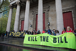 London, UK. 5th May, 2021. Activists assemble outside St Pancras Church for a March On The Motorway event organised by Burning Pink to coincide with the eve of the London Mayoral election. Burning Pink is a radical political party campaigning for rapid action to combat the climate emergency through the setting up of citizens assemblies. Following the speeches, the activists marched to the Westway where they were intercepted by the police.