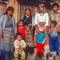 Karma Sherap and his family pose with Meredith and Ben Wiltsie in Kathmandu, Nepal, 1986.