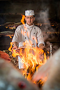 Said Qadit Shah, chef at Bait Al Baghdadi restaurant. Cooking Fish, United Arab Emirates
