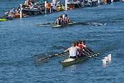 """Henley on Thames, United Kingdom, 8th July 2018, Sunday, Final of , """"The Queen Mother Challenge Cup"""", Leander and Agecroft, approaching the """"finish line""""  """"Fifth day"""", of the annual,  """"Henley Royal Regatta"""", Henley Reach, River Thames, Thames Valley, England, © Peter SPURRIER, Crew, Stroke, Tom BARRAS, 3. Graham THOMAS, 2. Jonny WALTON, and bow, John COLLINS,"""
