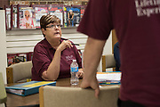 DURANT, OKLAHOMA - MARCH 24:  Sheila Risner visits with Vowell Posey (right) at the Bryan County Retired Senior Volunteer Program in Durant, Oklahoma on March 24, 2017. (Photo by Cooper Neill for The Washington Post)