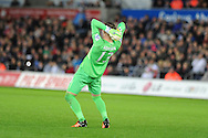 Adrian, the West Ham goalkeeper reacts after he sees his team just miss scoring. Barclays Premier league match, Swansea city v West Ham Utd at the Liberty Stadium in Swansea, South Wales  on Sunday 20th December 2015.<br /> pic by  Andrew Orchard, Andrew Orchard sports photography.