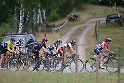 The break approaches the climb in the third short lap of the Crescent Vargarda - a 152 km road race, starting and finishing in Vargarda on August 13, 2017, in Vastra Gotaland, Sweden. (Photo by Balint Hamvas/Velofocus.com)
