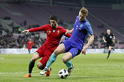 (L-R) Goncali Guedes of Portugal, Matthijs de Ligt of Holland during the International friendly match match between Portugal and The Netherlands at Stade de Genève on March 26, 2018 in Geneva, Switzerland