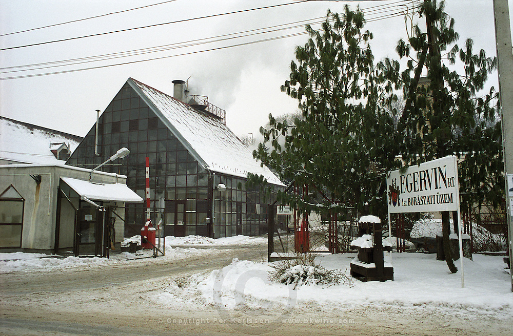 In Eger: The industrial size wine production plant of the Egervin winery.