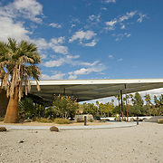 The Palm Springs Visitor Center was once the Tramway Gas Station designed by Albert Frey in 1965 and is still a landmark for fans of mid-century architecture traveling through Palm Springs, CA.
