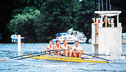 Henley. England, 1989 Henley Royal Regatta, River Thames, Henley Reach,  [© Peter Spurrier/Intersport Images],  Coxles Four, Wyfolds, TSS, Bow, AN OTHER, Clive ROBERTS John BEATTIE Wade HALL CRAGGS,