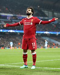 File photo dated 10-04-2018 of Liverpool's Mohamed Salah celebrates scoring.