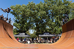 Vans Off the Wall sponsored half pipe skate and bicycle demos at the Born-Free Vintage Motorcycle show at Oak Canyon Ranch, Silverado, CA, USA. Sunday, June 23, 2019. Photography ©2019 Michael Lichter.
