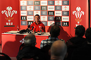 Wales coach Robert Howley talks to the media. Wales rugby team press conference and training at the Vale, Hensol near Cardiff, South Wales on Thursday 7th Nov 2013. pic by Andrew Orchard, Andrew Orchard sports photography,