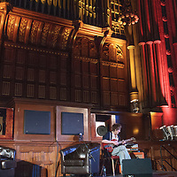 Vini Reilly speaks frankly with Dave Haslam about his life and his battle with depression on stage at the closing event for the Thirty One Songs Project. Manchester Town Hall, Albert Square, Manchester, United Kingdom, 2013-03-03