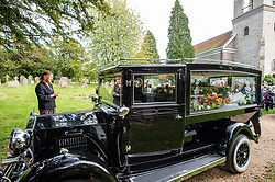 © Licensed to London News Pictures. 03/10/2019. High Wycombe, UK. A hearse departs St Lawrence's Church in High Wycombe after the funeral of Libby Squire.<br /> Libby Squire was a 21-year-old Hull University student and originally from High Wycombe she disappeared after a night out in Hull on February 1st, 2019. After extensive searches her body was found close to Spurn Point on March 20th, 2019. Photo credit: Peter Manning/LNP