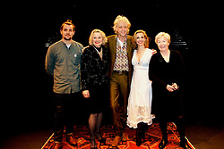 PRESS RELEASE<br /><br />Sunday 21 February, 5pm <br />NO FEE FOR REPRO;<br />Bob Geldof, Sinéad Cusack, Lisa Dwan, Peter Campion and Ruth McCabe on the Abbey stage. <br />PLEASE CREDIT LENSMEN.<br /> Reading the poetry of W.B. Yeats, in The Josephine Hart Poetry Hour.<br /><br />17 February 2016<br />The Abbey Theatre is delighted to host The Josephine Hart Poetry Hour – great poetry, read by great actors.<br /><br />Pictured at the reading were;<br />Peter Campion (Brooklyn, Love/Hate).<br />Sinéad Cusack (Our Few and Evil Days),<br />Bob Geldof<br />Lisa Dwan (Beckett's Not I)<br />Ruth McCabe (Philomena, My Left Foot)<br />This one off event celebrates the poetry of W.B. Yeats, featuring readings of his famous poems by musician and philanthropist Bob Geldof and acclaimed actors Sinéad Cusack (Our Few and Evil Days), Lisa Dwan (Beckett's Not I) and Peter Campion (Brooklyn, Love/Hate). Ruth McCabe (Philomena, My Left Foot) will act as narrator, providing illuminating introductions to each poem. This is the first of these poetry hours in almost a decade, and fittingly we celebrate the poetry of W.B Yeats on the Abbey stage.<br />About The Josephine Hart Poetry Hour: Josephine Hart (1942-2011) was born and raised in Mullingar before moving to London in her twenties, marrying Lord Maurice Saatchi in 1984. She became a well-known and much-loved theatre producer in the West End, producing the award-winning hits The House of Bernarda Alba and The Black Prince. She was also a best-selling author of six novels, including Damage which was adapted into a film with Juliette Binoche and Jeremy Irons. Josephine died suddenly in 2011, and the Dean of Westminster Abbey arranged a memorial poetry reading in Westminster Abbey to mark her death.<br />Josephine's passion for poetry led her to found The Josephine Hart Poetry Hour, which took London by storm in the 1990s and 2000s. These hugely popular poetry hours were presented at such celebrated venues as the British Library, The N