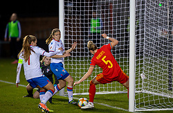 NEWPORT, WALES - Thursday, October 22, 2020: Wales' Rhiannon Roberts accidentally clears the ball off the Faroe Islands goal-line during the UEFA Women's Euro 2022 England Qualifying Round Group C match between Wales Women and Faroe Islands Women at Rodney Parade. Wales won 4-0. (Pic by David Rawcliffe/Propaganda)