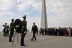 French President Emmanuel Macron, First Lady Brigitte Macron, members of the French delegation and Armenian officials attend a wreath laying ceremony at the Tsitsernakaberd Armenian Genocide Memorial in Yerevan, Armenia on October 11, 2018. Photo by Ludovic Marin/Pool/ABACAPRESS.COM