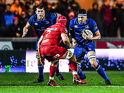 Leinster's Josh Murphy in action <br /> <br /> Photographer Craig Thomas/Replay Images<br /> <br /> Guinness PRO14 Round 17 - Scarlets v Leinster - Friday 9th March 2018 - Parc Y Scarlets - Llanelli<br /> <br /> World Copyright © Replay Images . All rights reserved. info@replayimages.co.uk - http://replayimages.co.uk