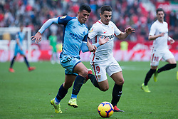 December 16, 2018 - Seville, Andalucia, Spain - Wissam Ben Yedder of Sevilla FC and Pedro Porro of Girona CF competes for the ball during the LaLiga match between Sevilla FC and Girona at Estadio Ramón Sánchez Pizjuán on December 16, 2018 in Seville, Spain  (Credit Image: © Javier MontañO/Pacific Press via ZUMA Wire)