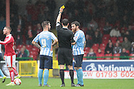 Coventry City defender Romain Vincelot is booked during the Sky Bet League 1 match between Swindon Town and Coventry City at the County Ground, Swindon, England on 24 October 2015. Photo by Jemma Phillips.