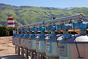 Vertical Sand Media Filters remove organic and inorganic contaminants in agricultural irrigation.San Joaquin Valley, Kern County, California , USA