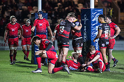 Dragons' Jarryd Sage celebrates scoring his sides first try.<br /> <br /> Photographer Simon Latham/Replay Images<br /> <br /> Anglo-Welsh Cup Round Round 4 - Dragons v Worcester Warriors - Friday 2nd February 2018 - Rodney Parade - Newport<br /> <br /> World Copyright © Replay Images . All rights reserved. info@replayimages.co.uk - http://replayimages.co.uk