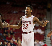 Nov 16, 2011; Fayetteville, AR, USA;  Arkansas Razorbacks guard Julysses Nobles (23) reacts to a play during a game against the Oakland Grizzlies at Bud Walton Arena. Arkansas defeated Oakland 91-68. Mandatory Credit: Beth Hall-US PRESSWIRE