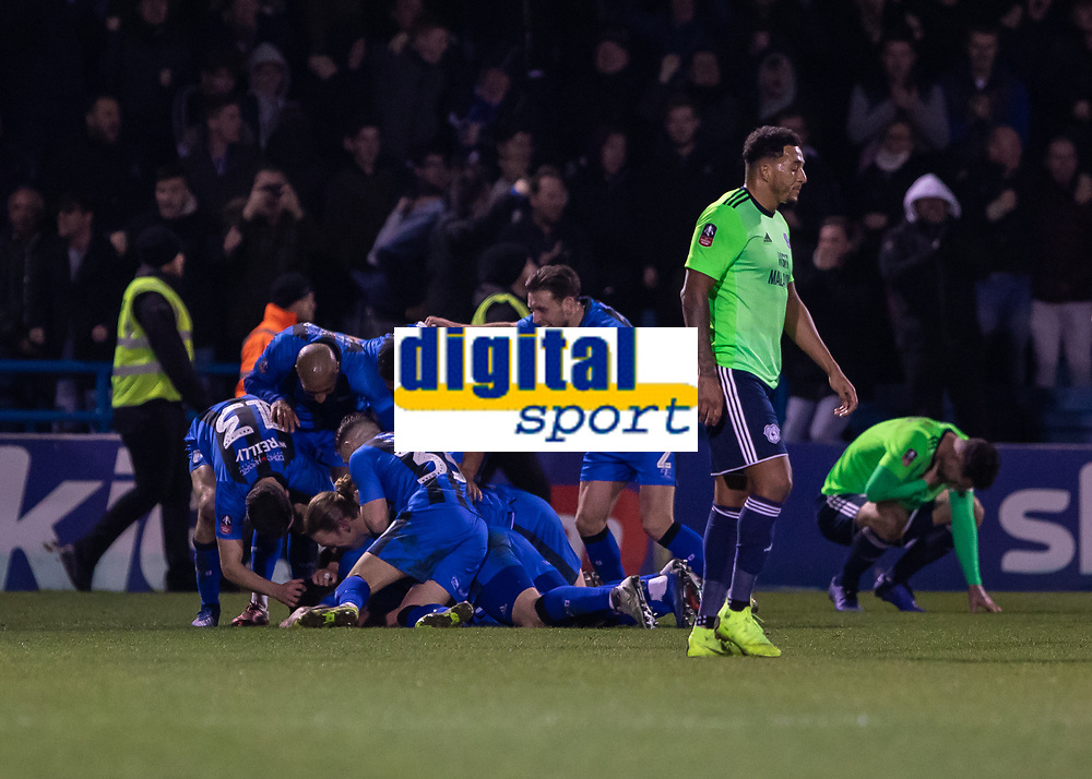 Football - 2018 / 2019 FA Cup - Third Round: Gillingham vs. Cardiff City<br /> <br /> Elliott List (Gillingham FC) finds himself at the bottom of the pile as Gillingham players celebrate after he scores the winning goal at Priestfield Stadium.<br /> <br /> COLORSPORT/DANIEL BEARHAM