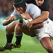 Thierry Dusautoir, France, is tackled by Conrad Smith, New Zealand,  during the New Zealand V France Final at the IRB Rugby World Cup tournament, Eden Park, Auckland, New Zealand. 23rd October 2011. Photo Tim Clayton...