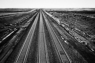 Rail lines for coal trains leaving the Powder River Basin in WY.