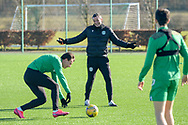 Hibernian FC manager, Jack Ross is all smiles during the training session for Hibernian FC at the Hibs Training Centre, Ormiston, Scotland on 26 February 2021, ahead of the SPFL Premiership match against Motherwell.
