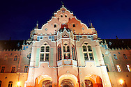 Art Nouveau (Sezession) City Hall designed by Lechner Ödön with Zolnay tiles at night, Hungary Kecskemét .<br /> <br /> Visit our HUNGARY HISTORIC PLACES PHOTO COLLECTIONS for more photos to download or buy as wall art prints https://funkystock.photoshelter.com/gallery-collection/Pictures-Images-of-Hungary-Photos-of-Hungarian-Historic-Landmark-Sites/C0000Te8AnPgxjRg