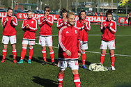 Jessica Fishlock of Wales (c)  wins her 100th cap and becomes the only Welsh senior international, men or women's to reach the 100th milestone, becoming the most capped Welsh international. Wales women v Northern Ireland women, friendly international football in Ystrad Mynach, near Caerphilly, South Wales on Wednesday 5th April 2017.<br /> pic by Andrew Orchard, Andrew Orchard sports photography.