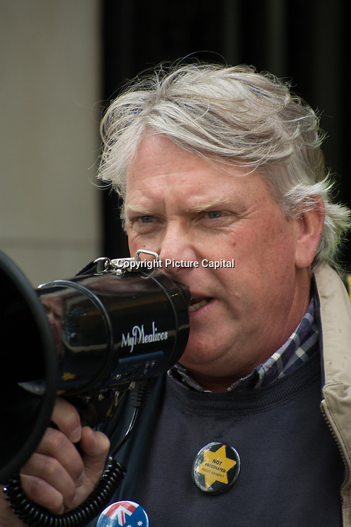 Speaker David Icke of Covid conspiracy theorist Australia tyranny Government disguised as Public Health is a test for New World Order outside Australia House, London, UK. October 1st 2021.with Oz. Solidarity with our Aussie suffering under a tyranny disguised as Public Health outside Australia House, London, UK. October 1st 2021.