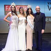NLD/Hilversum/20131208 - Miss Nederland finale 2013, Miss Nederland World Tatjana Maul en Miss nederland Universe Yasmin Verheijen met Kim Kotter en Maik de Boer