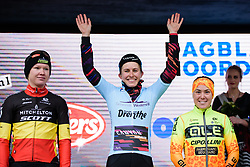 Race winner, Alexis Ryan takes in the applause at Drentse 8 van Westerveld 2018 - a 142 km road race on March 9, 2018, in Dwingeloo, Netherlands. (Photo by Sean Robinson/Velofocus.com)