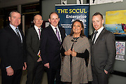 Declan Dooley with Liam Bluett. SCCUL ,  Frank Ryan Chairman IDA  , Norah Casey  and Michael Smith Ballybane Enterprise Centre at the annual SCCUL Enterprise Awards prize giving ceremony and business expo which was hosted by NUI Galway in the Bailey Allen Hall, NUIG. Photo:Andrew Downes