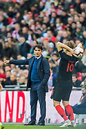 Zlatko Dalić, Manager of Croatia FC gives instruction to Tin Jedvaj (Croatia) during a throw in during the UEFA Nations League match between England and Croatia at Wembley Stadium, London, England on 18 November 2018.