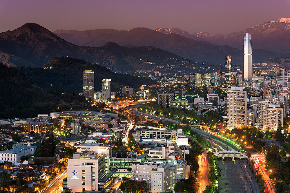 Panoramic view of Providencia and Las Condes districts, Santiago de Chile <br /> <br /> For LICENSING and DOWNLOADING this image follow this link: http://www.masterfile.com/em/search/?keyword=600-07802953&affiliate_id=01242CH84GH28J12OOY4<br /> <br /> For BUYING A PRINT of this image press the ADD TO CART button.<br /> <br /> Download of this image is not available at this site, please follow the link above.
