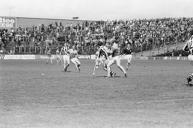 Wexford and Kilkenny get into a scuffle near the slitor during the All Ireland Senior Leinster Hurling Final Kilkenny v Wexford at Croke Park on the 24th of July 1977. Wexford 3-17 Kilkenny 3-14.