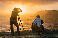Photographers shooting the sunset along the Point Reyes Headlands, Point Reyes National Seashore, Marin County, California
