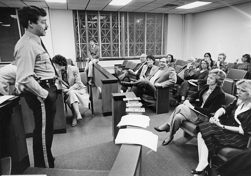 ©1991 Mothers Against Drunk Drivers (MADD) meeting at the county courthouse.