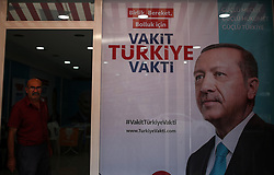 June 13, 2018 - °Zmir, Türkiye - A poster of Turkey's President Recep Tayyip Erdogan, is seen in Izmir city, June 13th, 2018. Turkey will hold two elections: parliamentary and presidential, on June 24. (Credit Image: © Emre Tazegul/Depo Photos via ZUMA Wire)