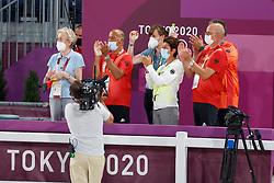 TOKYO - Olympische Spiele / Olympic Games 2021<br /> <br /> Kiss and Cry, Team Germany<br /> WINTER-SCHULZE Madeleine (Pferdebesitzerin), HILBERATH Jonny (Co-Bundestrainer), THEODORESCU Monica (Bundestrainerin Dressur), ROESER Klaus (Equipechef)<br /> Grand Prix de Dressage<br /> <br /> Tokio, Equestrian Park<br /> 25. July 2021<br /> © www.sportfotos-lafrentz.de/Dirk Caremans