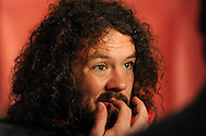 Wales rugby player Adam Jones talks to the media.Wales rugby team press conference and training at the Vale, Hensol near Cardiff, South Wales on Thursday 7th Nov 2013. pic by Andrew Orchard, Andrew Orchard sports photography,
